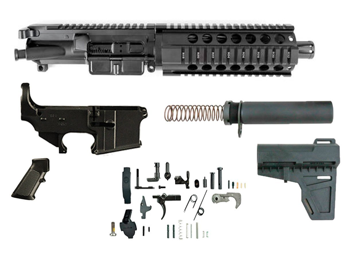 "300 Blackout (7.5"" Barrel & 7"" Free Floating Quad Rail) AR 15 Complete Pistol Build Kit #2"