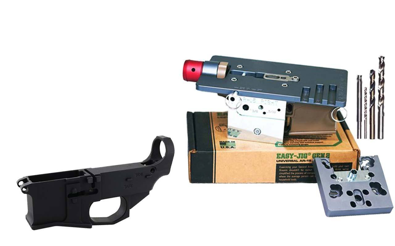Premium Black 80% Lower Billet FireSafe Engraved (1-Count) and Easy Jig Gen 2 with Tooling (AR15 AR9)