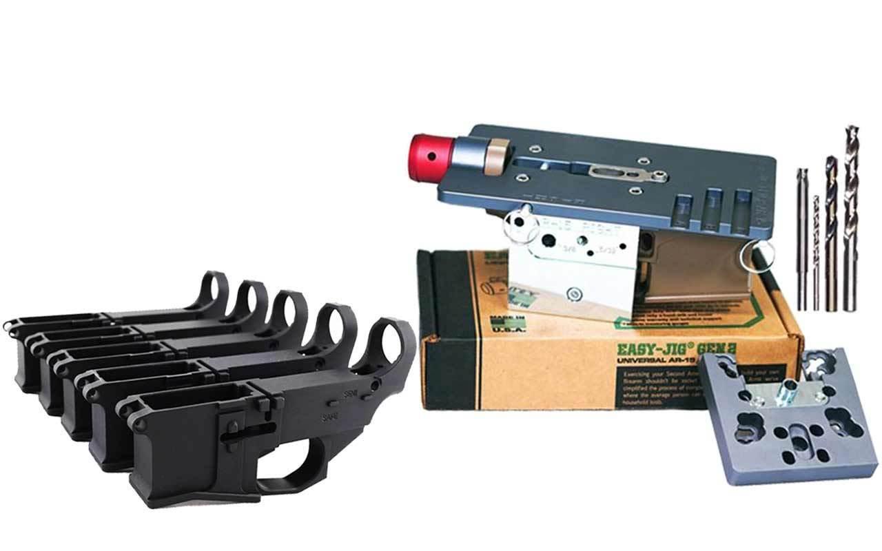 Premium Black 80% Lower Billet FireSafe Engraved (5-Count) and Easy Jig Gen 2 with Tooling (AR15 AR9)