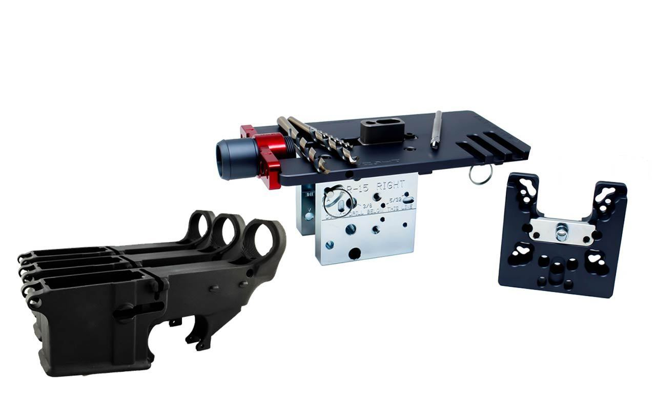 Enhanced Black 80% Lower (3 pack) with Easy Jig GEN 2 with Tooling (for AR-15/LR-308/AR-9 Lowers)