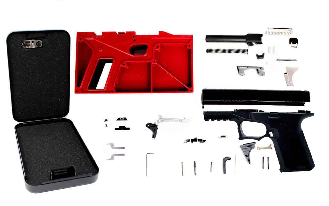 Pistol Build Kit with Polymer80 PF940C™ 80% Compact Pistol Frame & Jig w/  Free Portable Handgun Lock Box